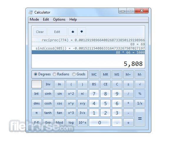 Windows7 Calculator Screenshot 2