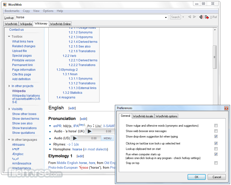 WordWeb 8.1 Captura de Pantalla 3