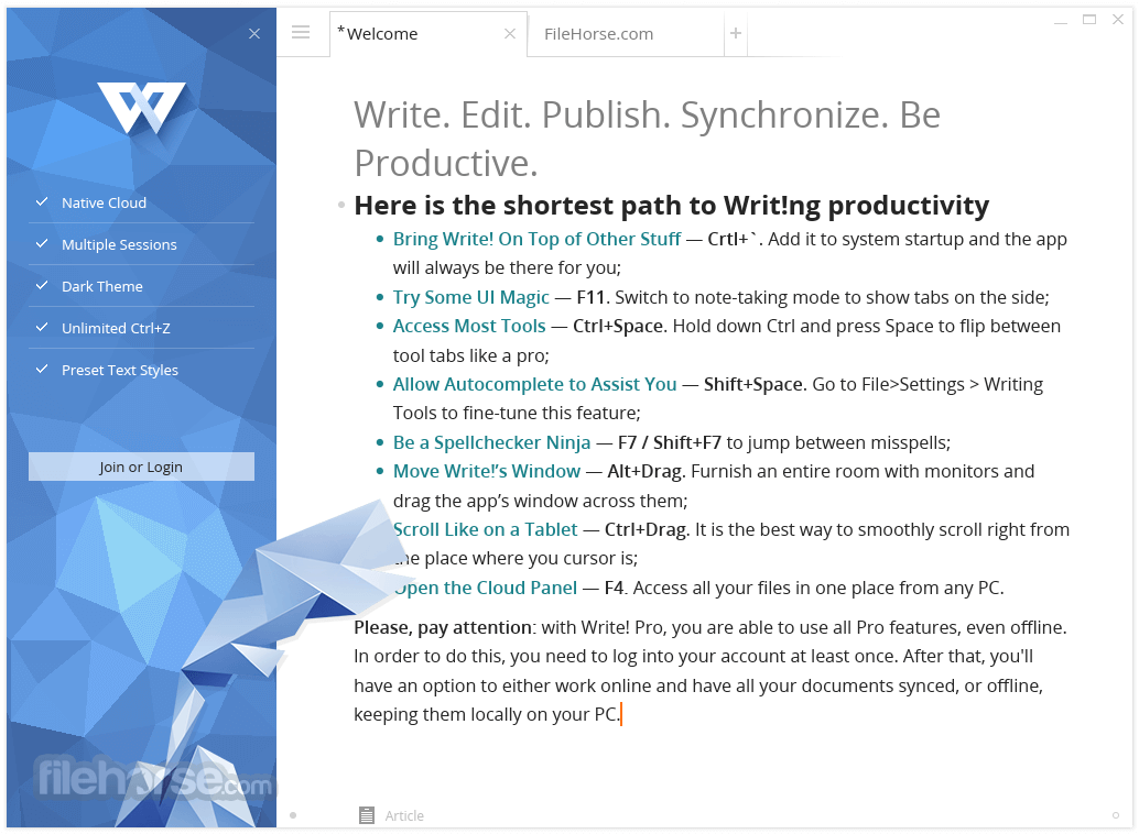 Write! 1.60.0 Screenshot 1