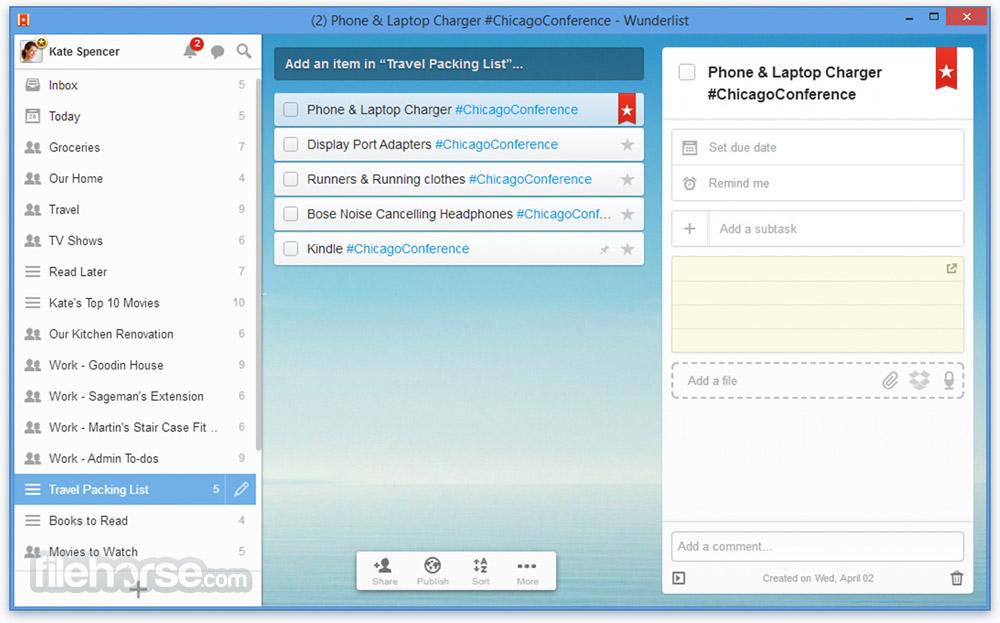Wunderlist 3.19.7 Screenshot 1