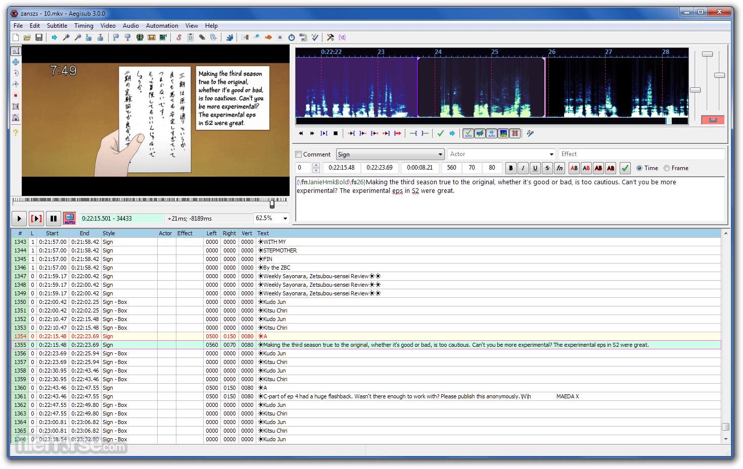 Aegisub 3.2.2 (64-bit) Screenshot 2