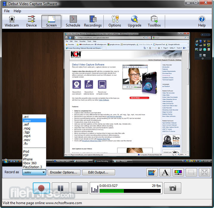debut video capture free  software