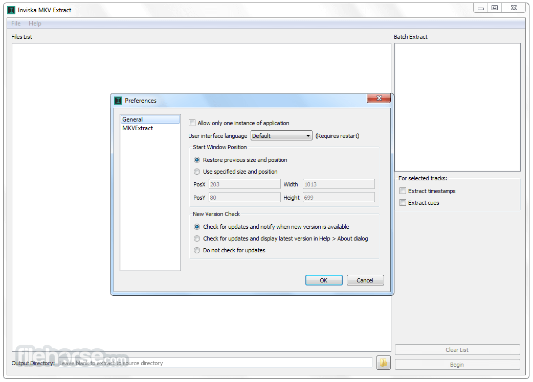 Inviska MKV Extract 11.0 (32-bit) Screenshot 1
