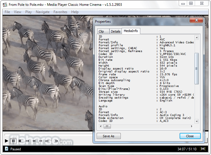 Media Player Classic Home Cinema 1.8.3 (64-bit) Screenshot 3