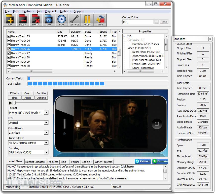 MediaCoder 0.8.52 Build 5920 (32-bit) Captura de Pantalla 1