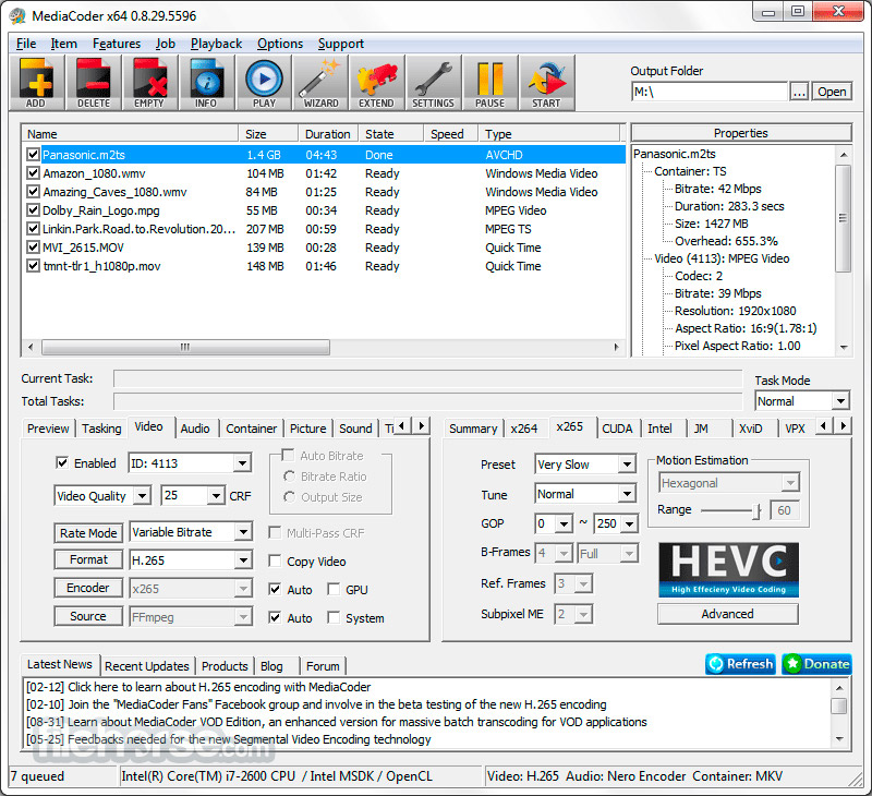 MediaCoder 0.8.52 Build 5920 (64-bit) Captura de Pantalla 2