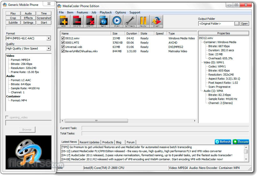 MediaCoder 0.8.52 Build 5920 (64-bit) Captura de Pantalla 4