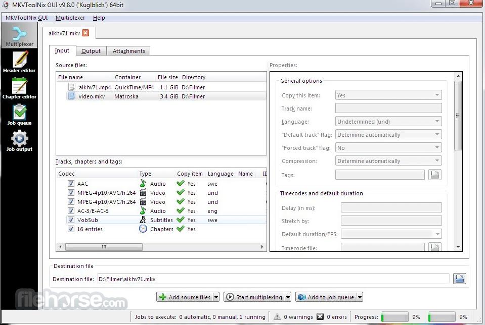 MKVToolNix 20.0.0 (32-bit) Captura de Pantalla 1