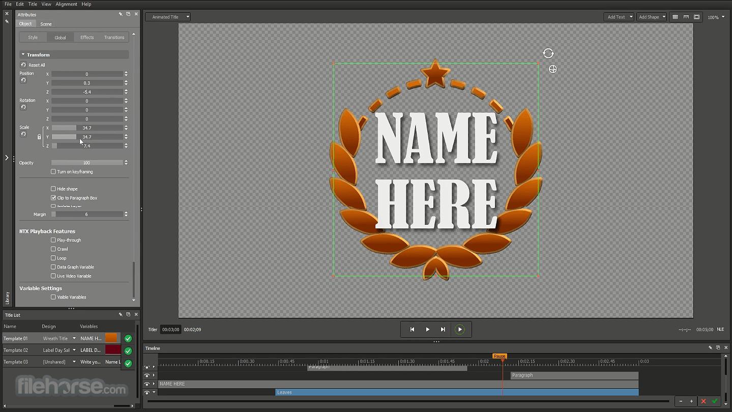 NewBlueFX Titler Pro 7 Screenshot 1