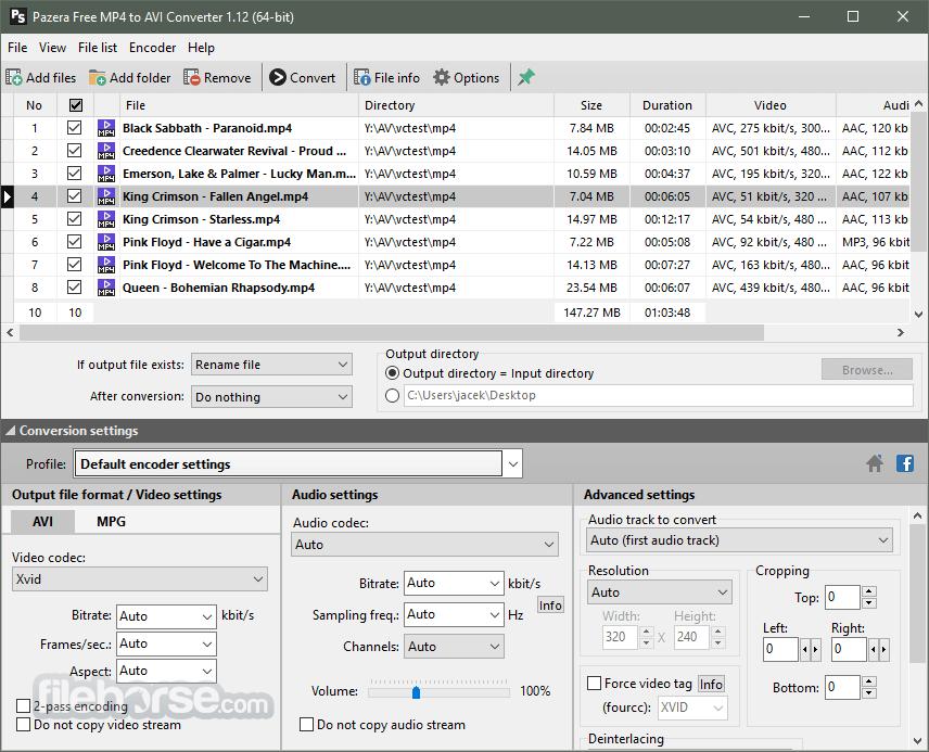Pazera Free MP4 to AVI Converter Portable 1.13 (64-bit) Captura de Pantalla 1