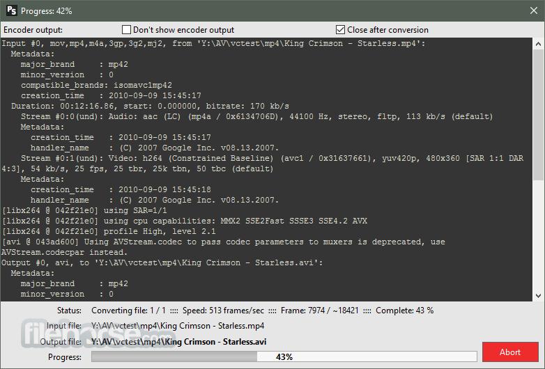 Pazera Free MP4 to AVI Converter Portable 1.13 (64-bit) Captura de Pantalla 2