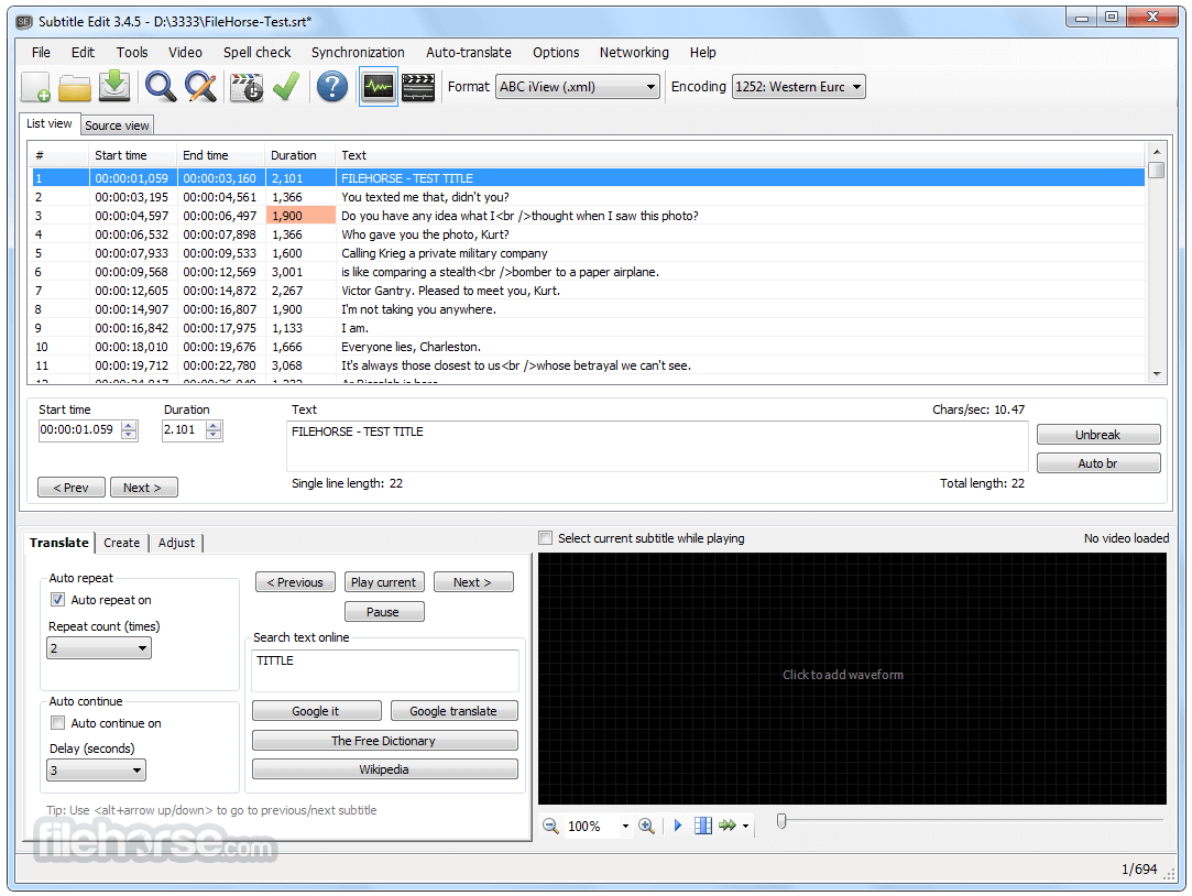 Subtitle Edit 3.5.6 Screenshot 3