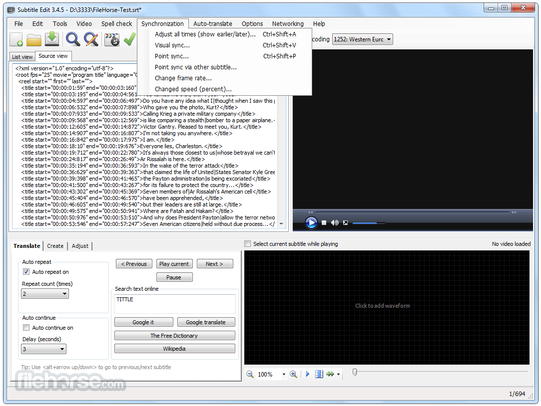 Subtitle Edit 3.5.6 Screenshot 4