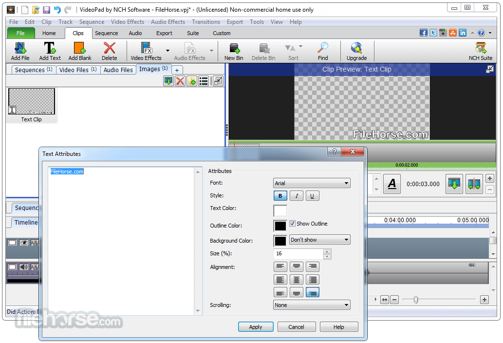 VideoPad Video Editor 6.01 Screenshot 3