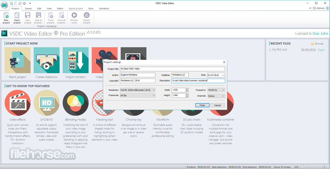 VSDC Free Video Editor 5.8.7.829 (64-bit) Captura de Pantalla 2