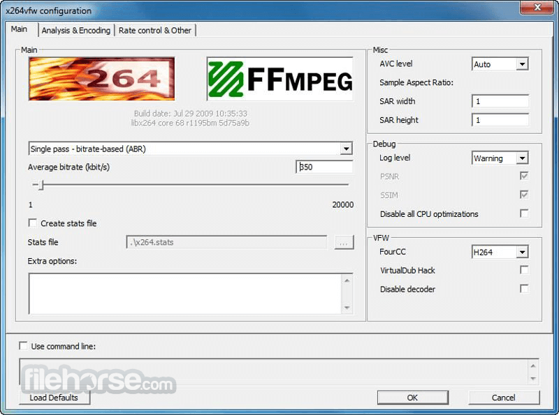 x264 Video Codec r2935 (64-bit) Screenshot 1