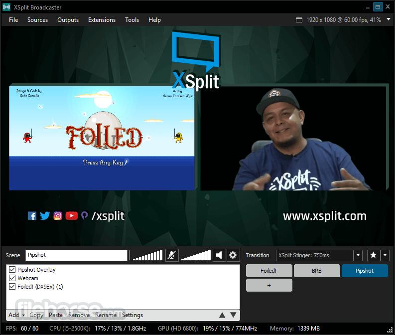 XSplit Broadcaster 3.4.1806.2217 Captura de Pantalla 4